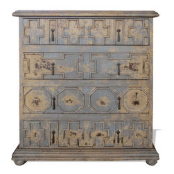 Koenig Collection - Old World Chest Of Drawers Native Geo,, Blue Grey And Beige - Native Geo Chest, Blueish Grey and Antiqued Beige,