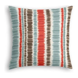 Aqua & Red Ikat Stripe Custom Euro Sham - The secret to those perfectly made beds you eye in magazines? Euro shams. Complete your bed set with a set of Simple Euro Shams for a look that's as stylish as it is snuggly.  We love it in this modern ikat stripe of cherry red, charcoal gray and aqua blue on ivory cotton.