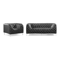 Contemporary, Modern Leather Upholstered Living Room Sofa Sets - ZUO 900274 PROVIDENCE Modern Black Button Tufted Leather Living Room Sofa Set
