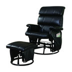 Coaster - Coaster Deluxe Steel Frame Glider Rocker and Ottoman in Black - Coaster - Gliders & Rockers - 650006 - Comfortable black leatherette glider with a heavy duty steel black frame.Features:Includes glider with ottoman Steel Frame Black on Black