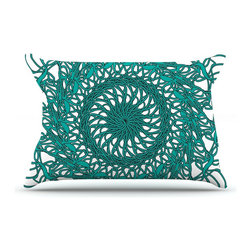 """Kess InHouse - Patternmuse """"Mandala Spin Jade"""" Green Pillow Case, King (36"""" x 20"""") - This pillowcase, is just as bunny soft as the Kess InHouse duvet. It's made of microfiber velvety fleece. This machine washable fleece pillow case is the perfect accent to any duvet. Be your Bed's Curator."""