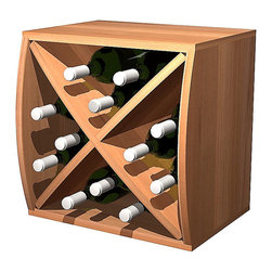 Wine Cellar Innovations - Curvy Cube with Diamond Insert Convex; Premium Redwood; Light Stain - This convex Curvy Wine Storage Cube is best matched up with its concave partner to make them curve. Our diamond insert will let this wine cube hold 12 bottles and makes having a wine collection fun and affordable. Each of these wine storage cubes is available to stack or be wall mounted and rack virtually anywhere due to their unique size and ergonomic assembly.  These unique wine racks are available in rustic pine and premium redwood with a large selection of stain options to match virtually any existing decor.