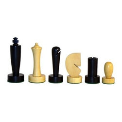 Modern Black Boxwood Chess Pieces - An eclectic design combines classic black and white colors with a stark modern design. The smooth clean lines that define modern design have been applied to these chess pieces and the result is nothing less than stunning. Tall elegant pieces have a strong presence and are a visual treat next to the stout and shapely curvature of the pawns. Each piece is carved from boxwood and then coated with a shimmering lacquer for lasting beauty. The minimalist modern forms of these pieces suggest the rich history of this ancient game by being stripped down to the barest contours letting our associations with each piece assert themselves. This is a beautiful collectible set that would look great in any modern or urban industrial setting.Add an extra element of modern design to your home today by placing your order for the Modern Black Boxwood Chess Pieces.
