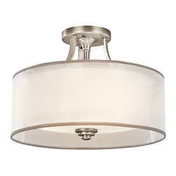 KICHLER - KICHLER Lacey Transitional Semi Flush Mount Ceiling Light X-PA68324 - From the Lacey Collection, the contemporary subtle curves are accentuated by a clean Antique Pewter finish on this Kichler Lighting semi flush mount ceiling light. A decorative mesh screen and coordinating opal inner glass shade completes the look.