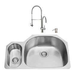 """VIGO Industries - VIGO All in One 32-inch Undermount Stainless Steel Kitchen Sink and Faucet Set - Enhance the look of your kitchen with a VIGO All in One Kitchen Set featuring a 32"""" Undermount kitchen sink, faucet, soap dispenser, matching bottom grids and strainers."""