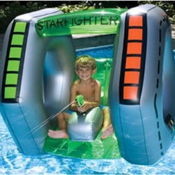 Splashnet Xpress Starfighter Squirter Pool Toy - Turn your pool into an out-of-this-world fun zone with the Splashnet Xpress Starfighter Squirter Pool Toy. Constructed of heavy-duty PVC this inflatable handles all the summer sun and chlorine easily and it's built tough so it can even support Dad when he's begging for his turn. Open sides allow for plenty of air flow and a bright green top will make it easy for the kids to imagine their in their very own spaceship. Best of all there's a built-in water blaster for spraying down everyone in their path.About SplashNet XpressSplashNet Xpress is dedicated to providing consumers with safe high-quality pool products delivered in a fast and friendly manner. While it's adding new product lines all the time SplashNet Xpress already handles pool maintenance items toys and games cleaning and maintenance devices solar products and above ground pools.