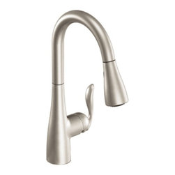 Moen Arbor Stainless Pulldown Kitchen Faucet - Arbor's smooth profile is tailored to perfection. The slight flair of the handle and the curve of the spout make this a transitional look that works with a variety of decorating styles.