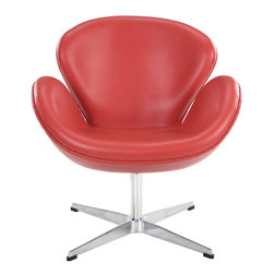East End Imports - Wing Chair in Aniline Leather Red - The Wing Chair can be used as a lounger or as an office chair. It is elegantly designed, made to add a luxurious modern style to any office, reception area or living room.