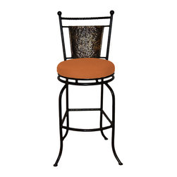 "Surf Side Patio - Fiji Swivel Bar stool, Tuscan, 24"" Counter Height - Accent your breakfast bar, home bar, tiki bar or patio with the hand crafted, wrought iron Fiji Swivel Bar stool.  Made from thick guage, powder coated wrought iron, these gorgeous bar stools swivel 360 degrees and bring a tropical touch to any area of your home, indoor or outdoor."