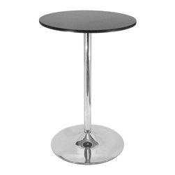 Winsome Wood - Modern Pub Table w Round Black Top & Chrome B - * Spectrum Collection. Black finish. MDF Top / Metal Bottom. Assembly required. Bottom base:19.68 in. dia. 28.74 in. L x 28.74 in. W x 40.16 in. H (34 lbs.)