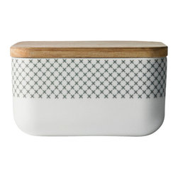 MENU - Box for butter w. lid, Grey Stitch - Beautifully designed objects transform everyday tasks into pleasures. Case in point: Fixing your breakfast with this simply lovely butter box, made of porcelain with cross-stitch-inspired trim.
