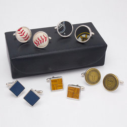 Frontgate - City Icons Boston Cufflinks Set - Boston Red Sox Game-used Baseball Cufflinks are hallmarked on the back with the team name and carrying a uniquely numbered hologram for authentication. Fenway Park Cufflinks are crafted from authentic wooden seats salvaged from the stadium during one of its renovations. Boston Bruins Game-used Puck Cufflinks come with a certificate of authenticity. Boston Garden Cufflinks are made from the familiar parquet basketball floor used from 1964-99, on which the Celtics won 16 championships. Boston Transit Token Cufflinks are made from authentic Boston transit tokens. Celebrate the city you love with our City Icons Cufflinks Set, featuring treasured artifacts and iconography from Boston. The set includes five pairs of cufflinks set in sterling silver, with memorabilia respective to Beantown.. . . . . Each cufflink has a bullet-back closure. USA/Imported.