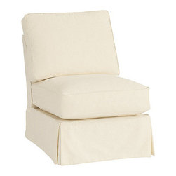 Ballard Designs - Davenport Armless Club Chair Slipcover - Special Order Fabrics - Easy to change with the seasons & to remove for cleaning. Throw Pillows sold separately. Imported. Exclusively designed to fit our best-selling Davenport Sectional, this Armless Club Chair Slipcover is hand finished with strong, over-locking seams and custom fitted to prevent shifting and bunching. A Davenport Slipcover is necessary when ordering any Davenport frame. Davenport Slipcover features: . . . Click to view:Frame .