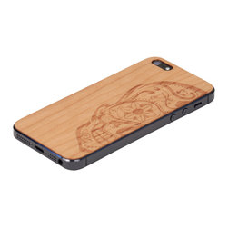 Lazerwood - Sugarskull iPhone Cover, Cherry - Low profile, real wood veneer cover for iPhone. Peel-and-stick backing makes the cover easy to apply and remove without damage to the phone. Designed and made in Seattle, WA.