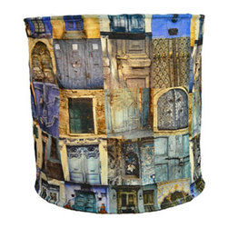 Modelli Creations - Hanging Lamp Shade in Blue Door Photograph Collage Design - Let your imagination ignite with this Journey of India Collection Hanging Lamp Shade with Blue Door Photograph Collaage Design. Beautiful ancient Indian motifs combined with modern colors and patterns create bold and brightening designs to excite any space.