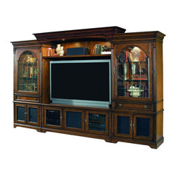 Hooker Furniture - Hooker Furniture Brookhaven Home Theater Group with 65in. Console - Center your entertainment area with style, storage and function into your home with Home Theater Group from the Brookhaven collection. Features: Material: Hardwood Solids with Cherry Veneers. Style: Traditional. Left Pier Cabinet - Top section: one wood-framed glass door with inlaid v-grooved antique brass finish; canister light controlled by three-intensity touch switch on right pier cabinet, two adjustable glass shelves; one drawer. Bottom section: two doors with interchangeable wood/speaker cloth panels open to reveal one adjustable shelf; levelers; Stained top; 38 1/4W x 24D x 82H. Right Pier Cabinet - Top section: one wood-framed glass door with inlaid v-grooved antique brass finish; canister light controlled by three-intensity touch switch on right pier cabinet; two adjustable glass shelves; one drawer. Bottom section: two doors with interchangeable wood/speaker cloth panels open to reveal one adjustable shelf; levelers; Stained top; 38 1/4W x 24D x 82H. Entertainment Console: Two outside doors with interchangeable wood/glass panels open to reveal one adjustable shelf behind each door; center door with interchangeable wood/speaker cloth panels opens to reveal one adjustable shelf behind door; touch latch operation; three plug outlet; levelers; Finished top; Console is not intended to be used alone. 65W x 25 1/4D x 26H. Back Panel: 65 3/4W x 1 1/4D x 57H. Light Bridge: Two canister lights controlled by three-intensity touch switch on right pier. Stained top. 80 1/4W x 27D x 8 1/2H. Shelf: 64 3/4W x 19D x 1 1/2H. This Home Theater Wall will accommodate up to a 65-inch television. Be sure to measure your television before purchasing. TV Area: 65W x 20 3/4D x 38H to 46H. Finish: Distressed Medium Clear Cherry.