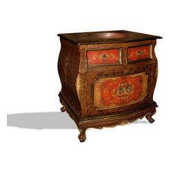 Koenig Collection - Old World Traditional French Single Vanity Bombay, Fresco Brown Distressed & Red - Bombay Single Vanity, Fresco Brown Distressed & Fresco Red Distressed W/ Scrolls and copper top