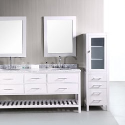 "Design Elements LLC - London 72"" Double Sink Vanity Set in White - The 72"" London rectangular-sink double vanity in white is elegantly constructed of solid hardwood. The classic beauty of the white Carrera marble countertop and contemporary style of the white cabinetry bring a sophisticated and clean look to any bathroom. Seated at the base of the rectangular ceramic under-mount sinks are chrome finish pop-up drains, designed for easy one-touch draining. Two matching framed mirrors are included. This beautiful vanity includes four pullout drawers and two pull-down shelves, all accented with satin nickel hardware. There is an additional open storage shelf at the bottom of the vanity. The London Bathroom Vanity is designed as a centerpiece to awe and inspire the eye without sacrificing quality, functionality, or durability."
