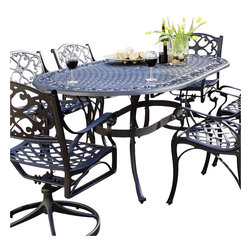 Home Styles - Home Styles Biscayne Oval Outdoor Dining Table in Black Finish - Home Styles - Patio Dining Tables - 555433 - A cost-effective alternative to cast iron Home Styles cast aluminum outdoor dining collection gives you the beauty of ornately designed pieces without the high cost.  Constructed of cast aluminum in a UV resistant powder coated hand applied Black-Antique finish; this Oval Dining Table features a top that is designed specifically to prevent damage caused from pooling by allowing water to pass through freely.  Adjustable nylon glides prevent damage to surfaces caused by movement and provide stability on uneven surfaces.
