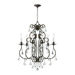 Crystorama - Crystorama 5016-EB-CL-MWP Chandelier - Grace never goes out of style. Ashton is a collection designed for today, tomorrow and everyday. It takes the notion of crystal chandeliers beyond traditional. Features modern hand-painted finishes, graceful lines and updated crystal shape. The hand cut crystal is cut by hand in two stages on an iron wheel and then on a sandstone wheel. Each crystal is polished on a wood wheel with marble dust.