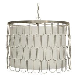 Worlds Away - Worlds Away Silver Leaf Wire Pendant RIVERS S - Silver leaf wire pendant with interior shade. Uses three 40W candelabra base bulbs.