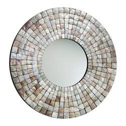 Mosaic Tile Mirror - It catches the light as readily as it catches the eye. The Mosaic Tile Mirror boasts a simple round form accentuated with Capiz Shell that reflect the soft shimmer of the shore, the white of gentle wavelets, the varicolored blue of sky. A welcome addition to a coastal-inspired home, a master bath, or a great room accented by natural beauty.