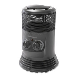 Kaz Inc - Honeywell Mini Tower 360 Heater Grey - Honeywell Mini Tower 360 surround heater - GREY. Convenient carrying handle, multiple heat settings, adjustable manual thermostat, enhanced safety features included: 360 degree Tip Over Switch. Overheat protection.