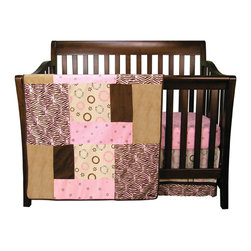 Trend Lab - Sweet Safari Pink - 3 Piece Crib Bedding Set - Trend Labs Sweet Safari Pink 3-Piece Crib Bedding Set features darling animal print circles and a mini-floral print are stylishly combined with zebra printed pink velour and luxurious chocolate and caramel ultrasuede in this lavish group. The modern color palette of bubblegum chocolate caramel and wheat adds a fashionable flair to your Sweet Safari nursery. Set includes a 35 x 45 in quilt Crib Sheet with 10in deep pocket and a box pleat crib skirt with 15in drop features.