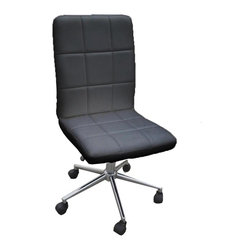 JR Home Products Ltd. - Classic Black Checkered Faux Leather Office Chair - Inspired by European designs, the Checker Office Chair offers chic urban style for today's office needs. The clean lines and sleek shape of these chairs allow them to be effortlessly incorporated into any design aesthetic. These chairs offer ultimate comfort with adjustable height and tilt mechanisms. Used with or without arms, these chairs are a favorite among students and professionals alike.