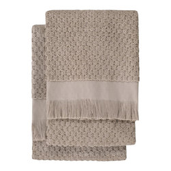 Nine Space - Dotty Hand Towel (Set of 2), Oatmeal - At 680 grams per square meter, these hand towels are luxuriantly soft and amazingly absorbent. They offer up plenty of visual texture with an irresistibly charming bubble pattern, giving your bath a look that's at once elegantly refined and subtly whimsical.