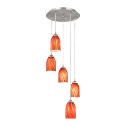 Design Classics Lighting - Multi-Light Pendant Light with Red Art Glass Dome Shades - 580-09 GL1017D - Five-light satin nickel finish modern multi-light pendant with fire red art glass shades. The dome art glass has shades of red and orange throughout with hints of green and creams. Includes one satin nickel five port ceiling canopy. Each mini-pendant comes with 7-feet of clear cuttable cord that allows for custom height adjustability for each pendant. Takes (5) 100-watt incandescent A19 bulb(s). Bulb(s) sold separately. UL listed. Dry location rated.