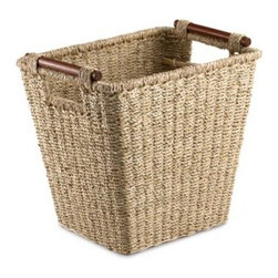 Lamont Home - Tangere Seagrass Waste Basket - Made of natural seagrass this waste basket will add a beautiful, natural touch to your bathroom. Basket is easy to pick up with wood handles.
