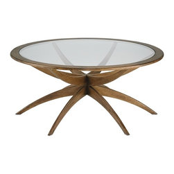 Currey & Co - Ellen Coffee Table - The smooth symmetry of the Ellen Coffee Table recalls retro pieces from the 1950s. This lovely table's Weathered Walnut finish and elliptical glass surface provide an attractive neutral accent for any contemporary interior.