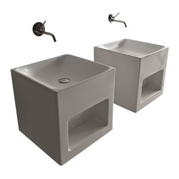 WS Bath Collections - WS Bath Collections Cento Cube Shaped Wall Hung/Counter Top  Sink - Ceramic Bathroom Sink