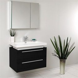 Fresca - Fresca Medio Black Modern Bathroom Vanity with Medicine Cabinet - Striking in its simplicity, this vanity offers modern sophistication to your bathroom. This vanity is wall mounted with two pull out drawers for storage. Fits virtually anywhere! Many faucet styles to choose from. Optional side cabinets are available. Features MDF/Veneer with Acrylic Countertop/Sink with Overflow Soft Closing Drawers Single Hole Faucet Mount (Faucet Shown In Picture May No Longer Be Available So Please Check Compatible Faucet List) P-trap, Faucet/Pop-Up Drain and Installation Hardware Included How to handle your counter Installation GuideView Spec Sheet
