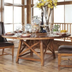 """American Drew 204-703R New River Old Orchard Round Dining Table 72""""-Import - American Drew 204-703R New River Old Orchard Round Dining Table 72""""-Import Sku: 204-703RManufacturer: American DrewCollection: New River Series Finish: Domestic-Alder Solids & Rustic Alder Veneers Import-Poplar Solids & Rustic Alder Veneers Series Code: 204Product Code: 703RParent Product: 703R Weight: 2Cubes: 41.9C Width: 0C Depth: 0C Height: 0Product Width: 72Product Depth: 0Product Height: 30Notes: Consists Of:703 72"""" Round Table Top w/Lazy SusanW72 D72 H3Wt. 1 Cubes 19.4B03 Table BaseW44 D44 H29Wt. 1 Cubes 22.5"""
