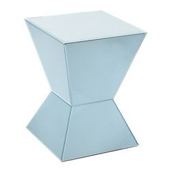 Howard Elliott - Arctic Blue Mirrored Pedestal - This cool and contemporary pedestal is made of an arctic blue colored mirror and features a geometric shape.