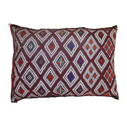 Pre-owned Moroccan Sham with Purple Diamonds - This fun and bright handwoven pillow sham with an elaborate diamond pattern is from the Zemmour tribe in the Middle Atlas mountains of Morocco. Zipper closure. Price is for the sham only, insert is not included.