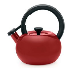 Circulon - Circulon Circles 1.5-Quart Steel Teakettle, Rhubarb Red - Great performance and style have been Circulon features for over 25 years, and this Circulon 1.5-Quart Circles Teakettle offers that and more in a bright, essential kitchen accessory that will heat up to 6 cups of water. The teakettle capacity is generous enough for a medium tea or coffee press, while its modern shape and captivating color options add contemporary design to everyday use or that heirloom coffee service or cocoa pot. A whistle melodically sounds when water reaches a boil, and the flip-up spouts lever is right at the fingertip for ease of use. The teakettle complements the great form and function of other Circulon cookware for even more kitchen and tabletop style.