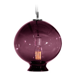 """Tempo Luxury Home - Juno Pendant from the Vesuvius Collection, Lilac - The Vesuvius collection is designed by Joe Ginsberg for Tempo Luxury Home. A delicate orb-shaped pendant lamp to illuminate and inspire. Expertly crafted from hand-blown glass, Juno will reflect your signature style. Size 9""""W X 10.5""""H; 5"""" canopy. 60w; 120v. Edison-style filament bulb included. Ships with 6 ft. of electrical cord. Due to the unique artisanal craftsmanship and customization of these pendants the lead-time is three to five-week."""