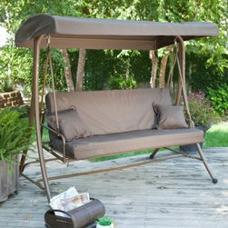Coral Coast Siesta 3 Person Canopy Swing Bed - Chocolate - This magnificently cozy Coral Coast Siesta 3 Person Canopy Swing Bed – Chocolate is a wonderful addition to any backyard. This porch swing's frame is painstakingly crafted from resilient metals, meaning your comfort is not only relaxed, but also reassured. The plush seating, which easily allows three to sit comfortably, folds with no difficulty into a remarkable swinging bed for those nights where you just don't want to go back inside.Maintenance Tips Remove debris from canopy regulary to prevent tears Treat with fabric protectant and water repellent to retain color Rinse with water monthly to remove & prevent dirt accumulationAbout Coral Coast What if, when you closed your eyes, you pictured yourself in your own backyard? Coral Coast has a collection of easygoing, affordable outdoor accessories for your patio, pool, or backyard. The latest colors and styles mingle with true classics in weather-worthy fabrics and finished woods, ready for relaxation. Make yours a life of leisure.