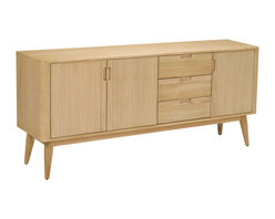 Sterling Industries - Retro Sideboard in Light Natural Wood Tone - This retro sideboard is made from solid mindi wood with veneer and other Plantation grown hardwoods. Finished in a light natural wood tone finish it has 3 doors which 1 shelf inside each and 3 sturdy drawers.