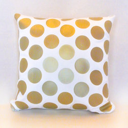 EVERYTHING GOLD - Gold metallic large polka dot pattern on ivory cotton blend fabric. Gold metallic fabric vinyl appliqué has a smooth satin finish.