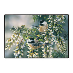 370-Chickadees Doormat - 100% Polyester face, permanently dye printed & fade resistant, nonskid rubber backing, durable polypropylene web trim on the porch or near your back entrance to the house with indoor and outdoor compatible rugs that stand up to heavy use and weather effects