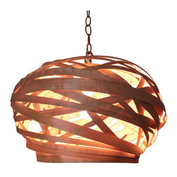"Bodner Chandeliers - Persimmon Pendant - Persimmon, from the ""Beehive Glow"" collection is a superb piece hand sculpted in woven sustainably harvested cherry wood. A stunning piece day or night, this UL listed pendant can be used on a dimmer with any 60 watt type ""A"" lamp (can be rated and UL listed for 7 watt LED lamp use only), provided with a 3' cable (additional cable available upon request)"
