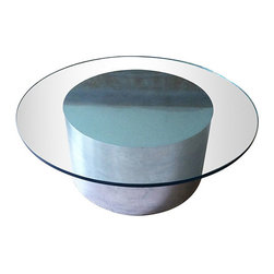 Paul Mayen for Habitat - Mod Cylinder Coffee Table - Super mod 70's glass coffee tables on aluminum cylinder pedestal bases are the best coffee tables in the galaxy and this one is no exception. It is possibly a Paul Mayen for Habitat but there is no label.