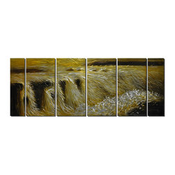Pure Art - Rapids of Gold Metal Wall Art Set of 6 - This huge, six-panel metal art gives you the feeling of standing at the base of a waterfall, about to be overcome with its power and force. Bathed in golden sunlight, the tumultuous falls rush over the rocks, cascading in a torrent of fury and light, frothy foam and dark eddies as the light of the sun in the background creates the illusion of distanceMade with top grade aluminum material and handcrafted with the use of special colors, it is a very appealing piece that sticks out with its genuine glow. Easy to hang and clean.