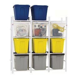 Bin Warehouse - Bin Warehouse 12-Tote Storage System - The Bin Warehouse 12-unit compact storage system is designed to hold contents up to approximately 600 pounds. This unit works perfectly with our 22 gallon Fold-a-tote bins. Whether you use plastic bins or Fold-a-Totes, all slide in and out with ease. The unit can also be attached to the wall for additional stability and is easily assembled with just a screwdriver.