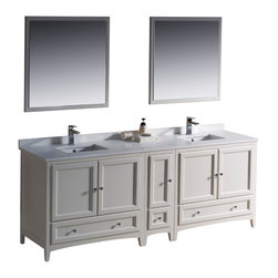 "Fresca - Fresca Oxford 84"" Antique White Double Sink Vanity w/ Side Cabinet - Dimensions of vanity:  84""W x 20.38""D x 32.63""H. Dimensions of mirror:  31.88""W x 31.88""H. Materials:  Solid wood frame, MDF panels, quartz stone countertop, ceramic undermount sinks w/ overflow. Single hole faucet mounts. 5 soft close doors. 3 soft close dovetail drawers. Seamless countertop w/ matching backsplash. P-traps, faucets, pop-up drains and installation hardware included. Blending clean lines with classic wood, the Fresca Oxford traditional bathroom vanity is a must-have for modern and traditional bathrooms alike.  The vanity frame itself features solid wood in a stunning antique white finish that's sure to stand out in any bathroom and match all interiors.   Available in many different finishes and configurations."