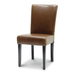 Palecek - Hudson Woven Back Side Chair, Tobacco - Plantation hardwood frame and legs. Fully upholstered leather seat and inside back. Woven outside back. Available only as shown.
